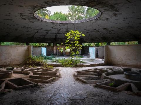 Una casa de baños común en el balneario de Tskaltubo.
