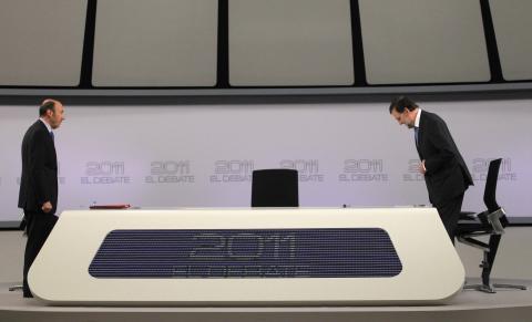 Rubalcaba y Rajoy en el debate electoral de 2011