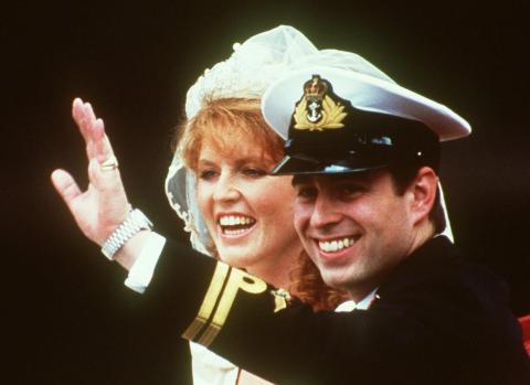 Sarah Ferguson y el Príncipe Andrés el día de su boda en 1986.