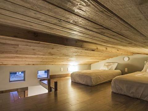 El techo inclinado hace que golpearse la cabeza tenga una probabilidad muy alta, y estar de pie en un dormitorio elevado como éste es totalmente imposible.