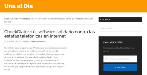Publicación de 2003 de Una al día en la que se explicaba el software solidario de Quintero.