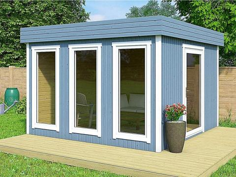 Some of these homes are more obviously not made to be permanent living spaces. This one-room, 106-square-foot Allwood Halmstad home may function better as a pool house or backyard work station. However, the benefit is that this