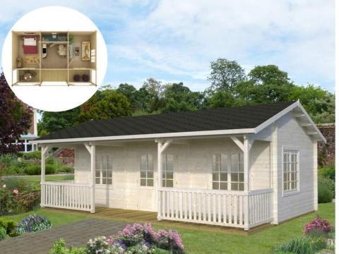 Algunas de las casas en Amazon vienen con amplios porches delanteros, como el modelo Jackson de WNC Tiny Home.