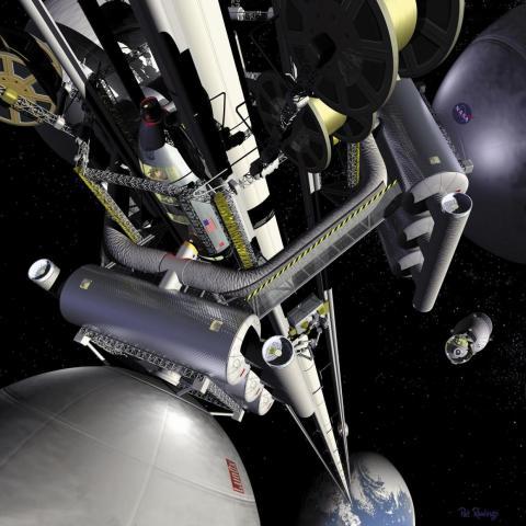 Una ilustración del artista Pat Rawling muestra el concepto de un ascensor espacial visto desde una estación de transferencia geoestacionaria, mirando hacia la Tierra.