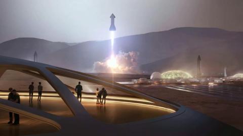 Una ilustración del sistema de cohetes de la nave espacial SpaceX que despega de una ciudad de Marte y regresa a la Tierra.