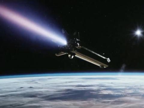 Una ilustración del sistema de cohetes de la nave espacial SpaceX que orbita la Tierra.