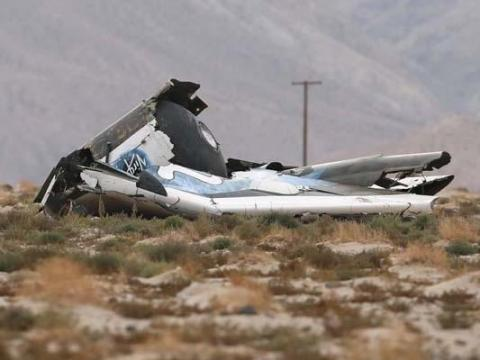 Virgin Galactic SpaceShipTwo flight test crash in 2014.