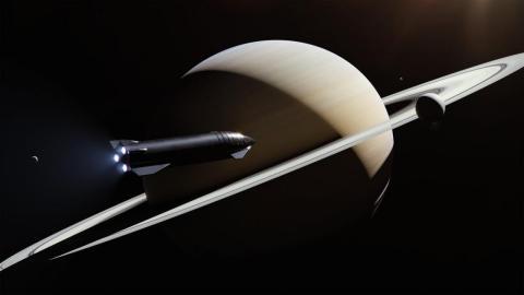 Una ilustración del cohete planeado de la nave espacial SpaceX volando a través de Saturno en un viaje por el espacio profundo.