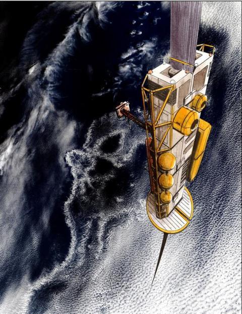 En la visión de LiftPort, el escalador probablemente viajaría arriba y abajo de la correa usando electricidad. Esta representación artística muestra cómo podría ser.