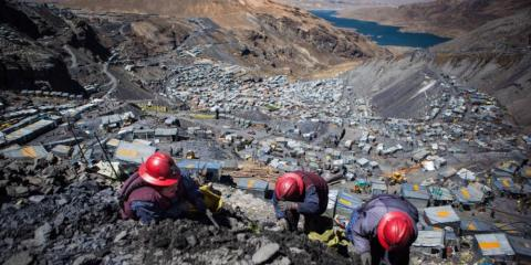 The view from La Rinconada, a town perched at an elevation of 16,732 feet in the Andes Mountains in Peru.