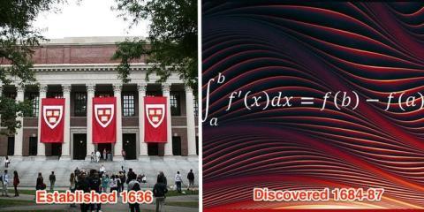 El cálculo no se descubrió hasta aproximadamente 50 años después de la fundación de Harvard.