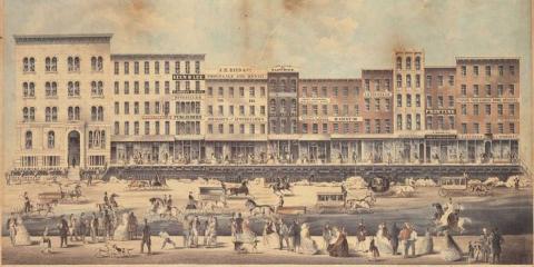 Este dibujo muestra cómo la vida seguía en Chicago mientras subían las calles.