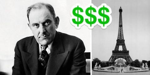 Victor Lustig convenció a seis comerciantes de chatarra para que pujaran por la Torre Eiffel.