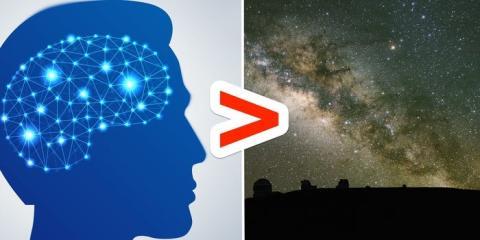 Una persona con cociente medio tiene alrededor de 500 trillones de sinapsis mientras que hay alrededor de 200 mil millones de estrellas en la Vía Láctea.