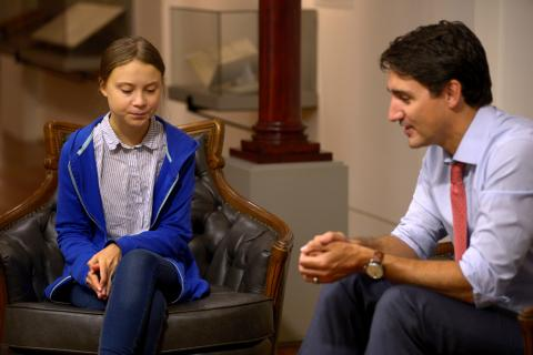 La activista Greta Thunberg y el Primer Ministro canadiense Justin Trudeau