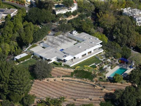 La mansión Bel Air de Jennifer Aniston vista desde arriba.