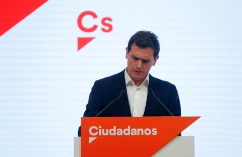 Albert Rivera en la rueda de prensa en la que ha anunciado su dimisión como presidente de Ciudadanos.