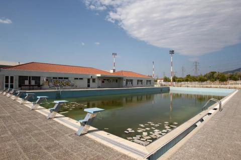 A deserted training pool in Athens' Olympic Village.