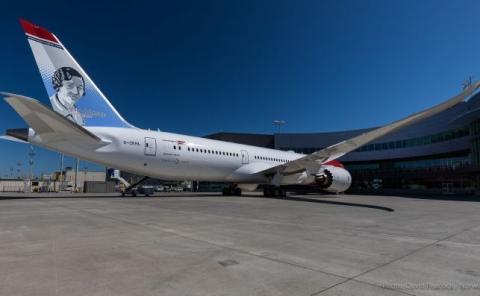 El Boeing 787-9 Dreamliner con que se batió el récord de velocidad subsónica.