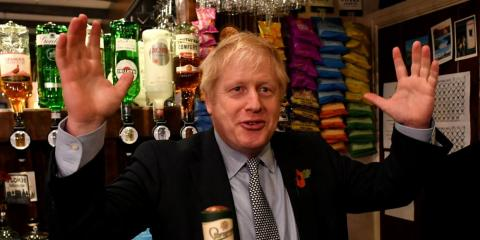 Britain's Prime Minister Boris Johnson campaign at the Lynch Gate Tavern, in Wolverhampton