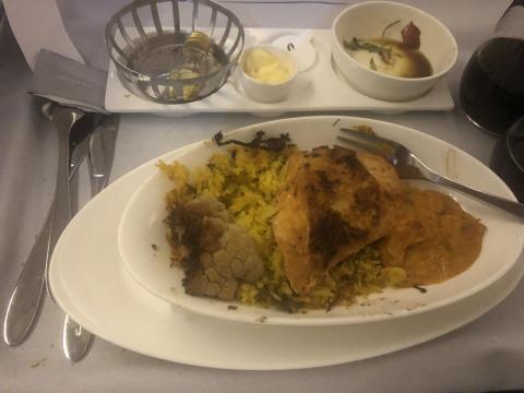 British Airways business class: pollo biryani