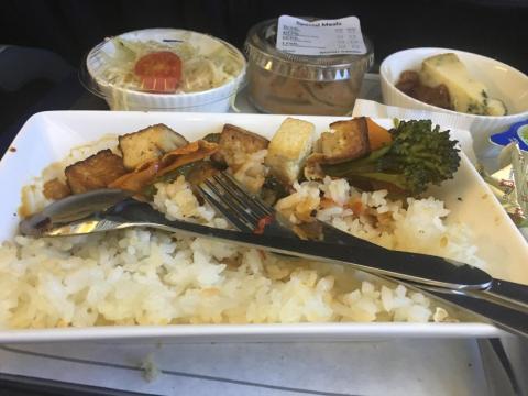 British Airways: arroz con verduras