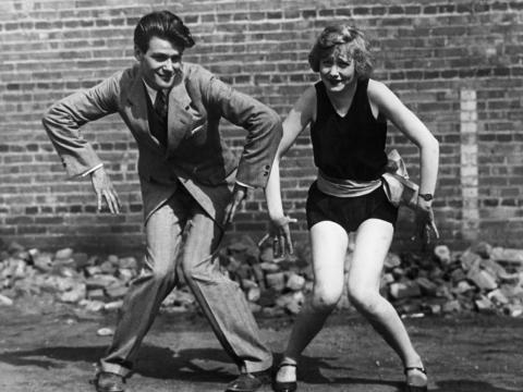 The iconic Charleston dance move.