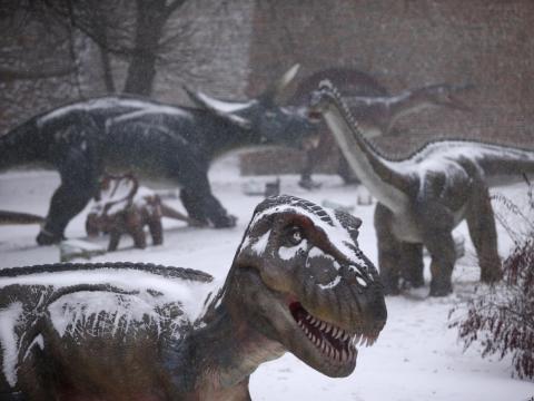Un parque de dinosaurios en Belgrado, Serbia, en febrero de 2018.