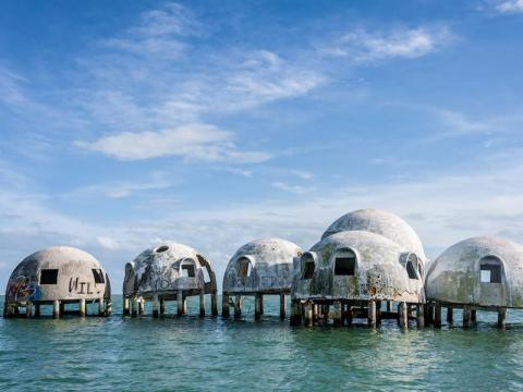 This collection of dome-shaped homes now sits offshore.