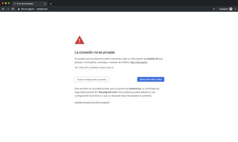 Error en el certificado SSL de la web de Amazon