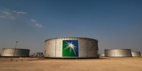 FILE PHOTO: A view shows branded oil tanks at Saudi Aramco oil facility in Abqaiq