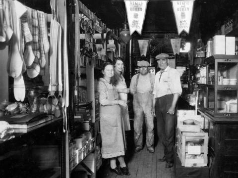 People in a general store.