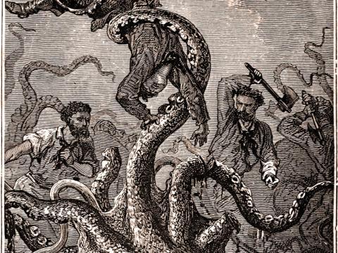 Una ilustración de la edición original de 'Veinte mil leguas de viaje submarino' que representa a un calamar gigante