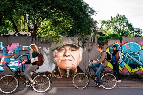Un grafitti del cantante danés Kim Larsen en las calles de Copenhague