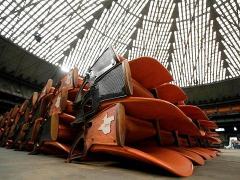 Toppled stadium seats in the Houston Astrodome.