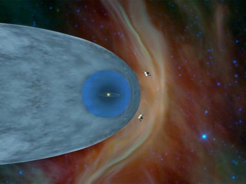 La ilustración muestra la posición de la Voyager 1 y la Voyager 2 de la NASA fuera de la heliosfera.