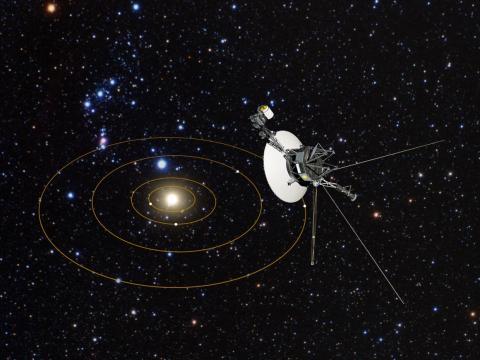 Ilustración de una sonda Voyager saliendo del Sistema Solar.