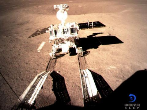 The Yutu-2 rover rolled onto the lunar surface on January 3, 2019 as part of the Chang'e 4 mission to the far side of the moon.