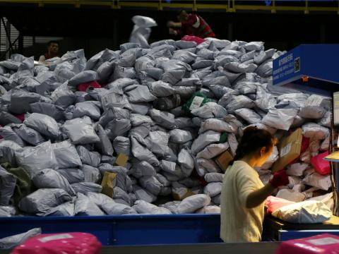 A large number of packages are already being sorted following the world's biggest 24-hour shopping day.