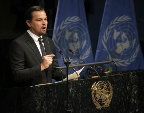 Leonardo DiCaprio en la sede de Naciones Unidas en Nueva York.