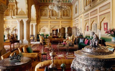 Lujosas dependencias del palacio de Jaipur.