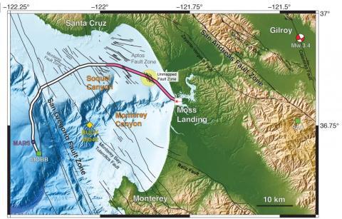 Mapa de los cables en la bahía de Monterrey. La parte coloreada en rosa se utiliza para detectar actividad sísmica.