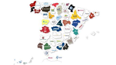 Mapa de las empresas más importantes por provincias de España en 2019