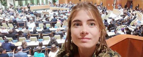 María Laín en la Cumbre de Jóvenes de Naciones Unidas en Nueva York