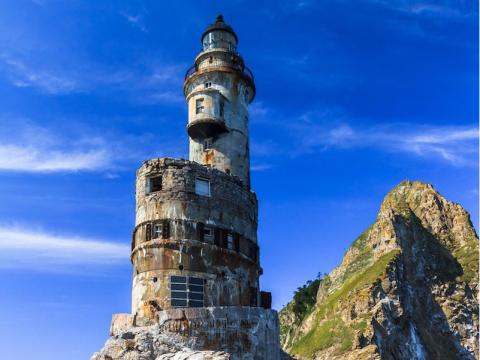 This lighthouse is located on an isolated island in Russia.