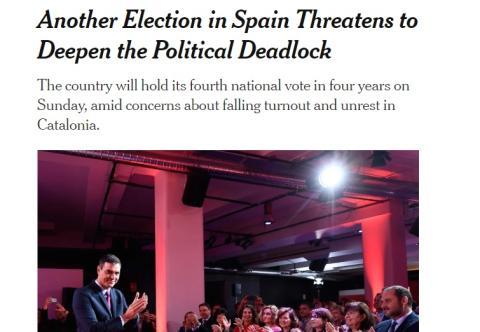 The New York Times sobre las elecciones en España.
