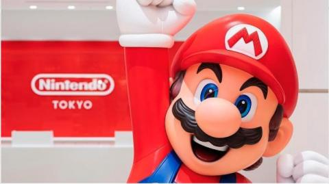 Nintendo mascot Super Mario greets customers at Nintendo Tokyo, the company's first retail store in Japan.