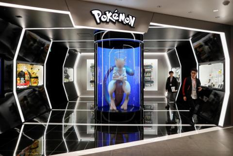 Nintendo Tokyo and Pokémon Center Shibuya are technically separate stores, though they are neighbors. The highlight of the Pokémon store is this life-sized Mewtwo statute inside of an incubation chamber.