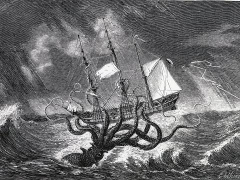 El legendario Kraken, monstruo de las profundidades, representado como un calamar gigante. Grabado 1870.