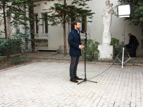 Pablo Casado comparece ante los medios tras votar